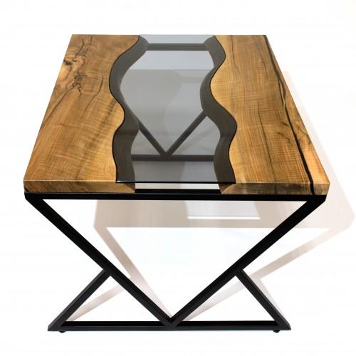 Стол из массива ореха со стеклом