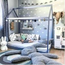 Кроватка Дом Синяя